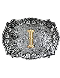 Bai You Mei Cartas iniciales de estilo occidental vaquero de oro grandes hebillas  de cinturón 1b3fe9b86e87