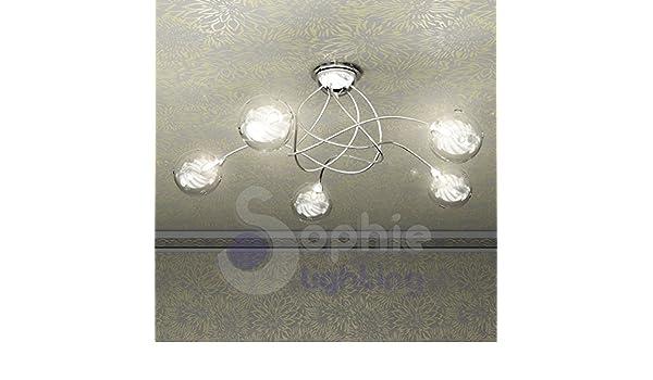 Plafoniere Con Musica : Plafoniera lampadario soffitto design moderno 5 luci bracci sfere
