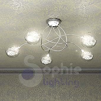 Plafoniera lampadario soffitto design moderno 5 luci for Lampadari in acciaio moderni