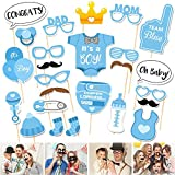 "JZK 25 "" It' A Boy"" azul niño baby shower photo booth props photobooth para niños cumpleaños de bebé baby shower decoraciones de fiesta"