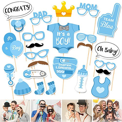 blau Foto Requisiten Photobooth Photo Booth Props Brillen Bart Schnurrbart Flaschen Dekoration zum Junge Taufe Babyparty Geburtstag Baby Shower Baby Dusche (Baby-junge-geburtstag Themen)