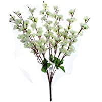 Samridhi Artificial Peach Blossom Flower Bunch (9 Stems, White, 45cm)