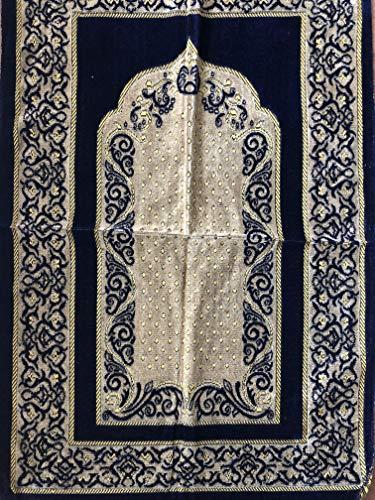 Istanbulbazaar® Elegant entworfene Hohe Qualität Gebet Matte Teppiche Sejadah Sajadah Gebetsteppich Seccade Sejjada Islam Mekka Namazlik Orientteppich 110 x 70 cm (DUNKELBLAU) - Islam-teppich