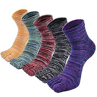 Sneaker Socken Herren Zehensocken Baumwolle Beiläufig Sport Schule Socken Fünf Finger Laufen Socken für Schuhgröße 39-44, 5 Paare