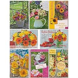50 Geburtstagskarten mit Blumen Grußkarten zum Geburtstag Glüchwunschkarten mit Umschlägen Klappkarten mit 50 Umschlägen 51-11517