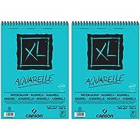 Canson XL Aquarelle Lot de 2 Albums de Papier spiralés petit côté 30 feuilles grain fin 300 g A4 Blanc
