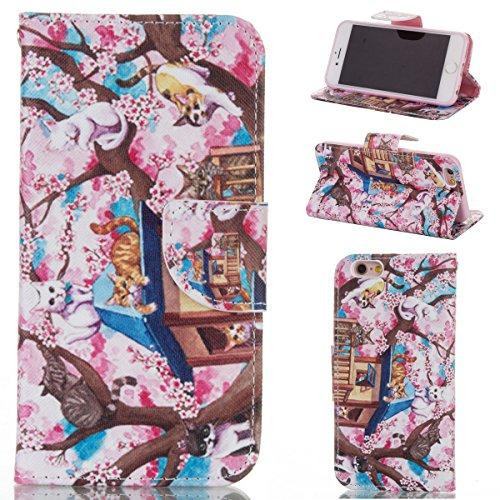 Handyhülle für Apple iPhone 6 Plus/6s Plus 5.5 Zoll, Ekakashop Ledertasche Schutzhülle im Bookstyle für iPhone 6s Plus, Rote Feder Muster Leder Tasche Handytasche Zubehör Portemonnaie mit Kartensteckp Katze im Baum