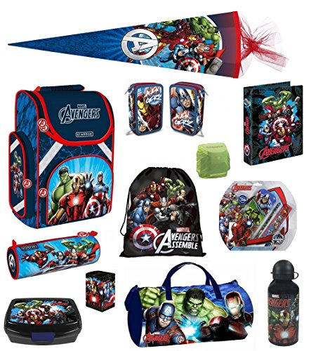 Familando Avengers Schulranzen PL 16tlg. Set mit Dose/Flasche Sporttasche Federmappe gefüllt Schultüte 85cm HULK THOR