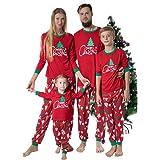 Surfiiy Pigiama Famiglia Natale Set, Donna Due Pezzi Albero di Natale Stampa Mamma Adult Genitore-Figlio Costume Eleganti Cot