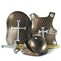 Rainai Childs Medieval Knight Costume,dress Up Sword And Shield,kids Knight Chest Plate GoldenGragon/SilverGragon/GragonCross For Children