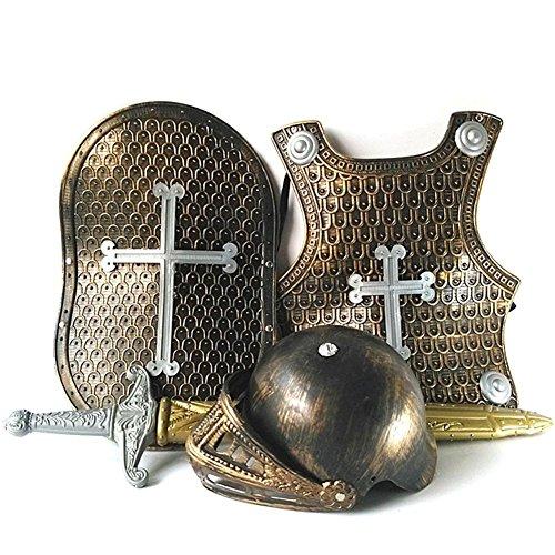 Junge Brave Kostüm - perfecthome Brave Crusader Halloween-Kostüm für Jungen, Small Knight Armor Kleidung Halloween-Spielzeug für Kinder, inklusive Helm, Schwert, Schild und Rüstung