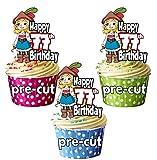 vorgeschnittenen Mädchen Pirat–Meine Damen 77th Geburtstag–Essbare Cupcake Topper/Kuchen Dekorationen (12Stück)