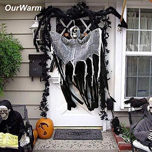 Big-Mountain Halloween Schädel Vorhang Dekor, hängenden Geist Spukhaus Sensenmann Horror Requisiten Tür Dekor, Schwarze Quaste Fenstersiebung Tuch Festival Fenster (Schwarz)