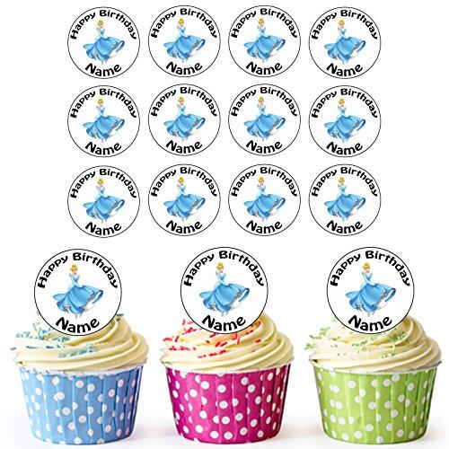 Vorgeschnittene Personalisierte Cinderella Disney Prinzessin - Essbare Cupcake Topper / Kuchendekorationen (24 Stück) (Cinderella Cupcake Kuchen)