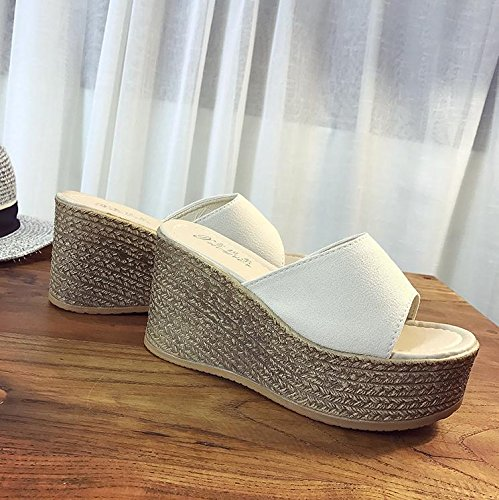 LvYuan Pantofole estive delle donne / Comfort Casual moda / tacco tallone / fondo spessa / piattaforma impermeabile / tacco alto / sandali / beach shoes Bianca