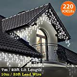 ICICLE Lights 220 LED Bright White Indoor & Outdoor Christmas Lights Fairy Lights 7m / 23 ft with 10m / 33 ft Lead Wire- Multi-Action - Green Cable