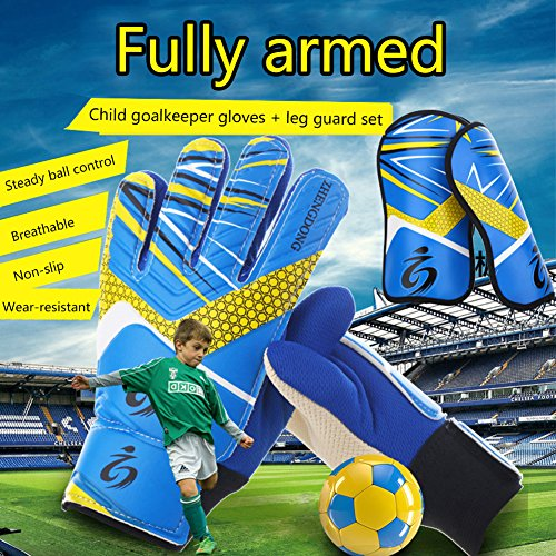 Prom-near Children Soccer Goalkeeper Sports Kinder/Jugendliche Basic Fußball Torwart/Spieler Handschuhe + Beinschutz S1014 (Handschuhe Prom)