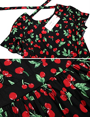 ACEVOG Damen Sommer Rückenfreies Mini Blumen Kleid Kurzarm Strandkleid Partykleider Cocktailkleider mit gekreuzten Bändern auf der Rückseite Schwarz(Kleine Blumen)