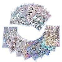 eBoot 96 diseños de vinilos de uñas set de hojas de pegatinas de plantillas de uñas para diseño de arte de uñas, 24 hojas, 288 piezas  Dimensión de hoja de pegatina cada hoja es cerca de 5,12 x 3,54 pulgadas, consistiendo en 12 pequeños pedazos (1,2 ...