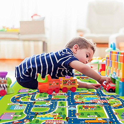 Kinderteppich Spielteppich Kinder Teppich kinderzimmer Spielmatte Kinderzimmerteppich Picknick-Decke City Hafen Straßenteppich Stadt Straße