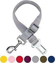 Umi. Essential Classic Solid Color Adjustable Dog Seat Belt Tether, Grey, Durable Safety Car Vehicle Seatbelts Leads Use with