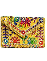 Art Godaam Hand Stiched Cotton Embroidery Clutch