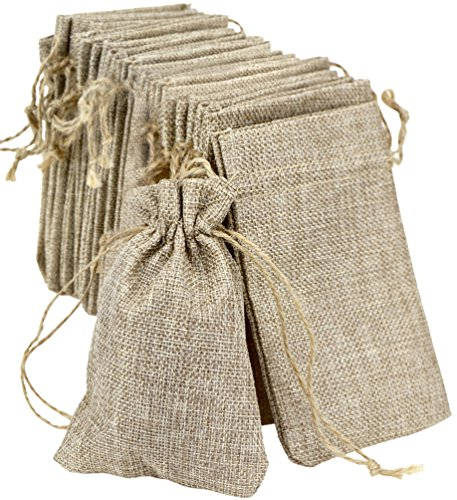 FiveSeasonStuff Burlap Bags with Drawstring, Hessian Jute Wedding Favours Gift Bags, Jewellery Birthday Party Baby Shower Arts & Crafts Gift Wrapping Candy DIY Pouches (10cm x 15cm) Medium — Pack of 20