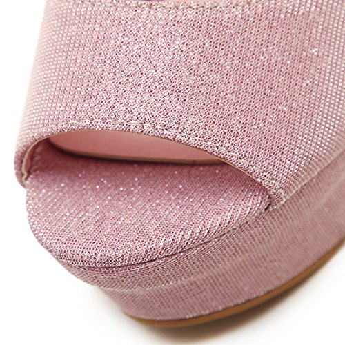 YE Damen Knöchelriemchen High Heels Peep Toe Plateau Sandalen mit Schnalle Stiletto Pumps Schuhe Rosa