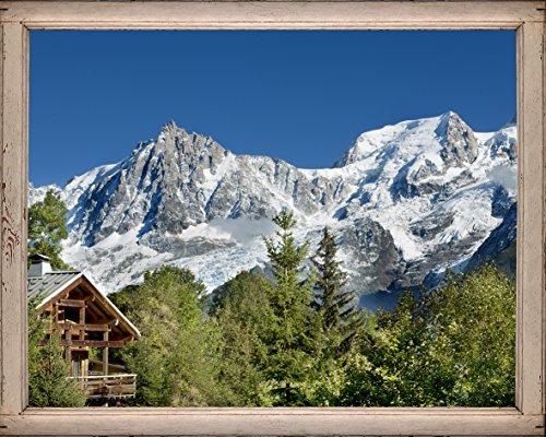 Décoration adhésive Montagne 1 Trompe l'Œil Fenêtre, Polyester, Multicolore, 75 x 0,1 x 60 cm