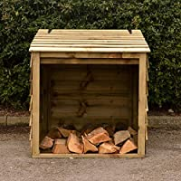 Wooden Log Store with Hinged Lid For Easy Access