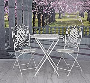 fer meubles de jardin mobilier de jardin table et chaises vintage blanc exclusivit palazzo. Black Bedroom Furniture Sets. Home Design Ideas