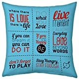 Valentine Gifts for Boyfriend Girlfriend Love Printed Cushion 12X12 Filled Pillow Sky Blue Love Quotes Gift for Him Her Fiance Spouse Birthday Anniversary