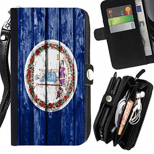 FJCases Virginia The Old Dominion State Holzmuster Flagge Handschlaufe und Reißverschluss Hülle Schutzhülle für HTC One Mini 2 Old Virginia Mini