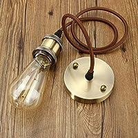 KINGSO E27 Lustre Suspension Vintage Retro Culot de Lampe Edison Antique 110-250V Adaptateur de Douille Cuivre avec Câble de 1m Bronze