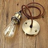 KINGSO E27 Lampenfassung Kupfer Retro lampenaufhängung mit baldachin Antike Edison Pendelleuchte Vintage Hängelampe industrie deckenlampe mit textilkabel und Halter Lampe Zubehör mit 1 Meter Kabel Bronze