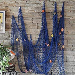 Biutee Dekoration Fischnetz mit Muscheln Maritime Deko Beach deko150cm*200cm(BU)