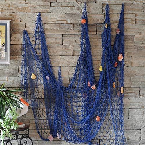 Miyare - rete da pesca cucita a mano/decorazione per la tua casa o ristorante, stile mediterraneo, colore: blu 1.5m*2m blu