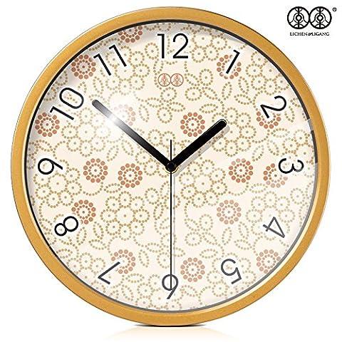 Silence @ moderne coloré Creative silencieuse Horloge murale Floral Jardin, Plated mirror box, 30,5cm