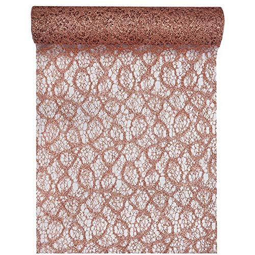 Tischläufer Spitze Colour 28cm x 5m rosé-Gold Tischdeko Tischdecke Geschenkband Dekostoff (Tischdecke Gold Rose)