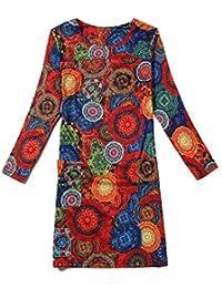 Neighbor Girl Clásico de comercio exterior de impresión elástico de la falda yardas grandes de manga larga de color 20