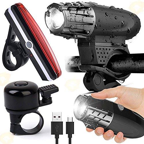 Wasserdicht LED Fahrradbeleuchtung Set, Wiederaufladbare Fahrradlicht mit Fahrradklingel, Rücklicht, Sicherheits-Taschenlampe,4 Licht-Modi USB Aufladbare Fahrradlichter - Waterproof Bicycle Light Set