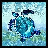 Buyartforless gerahmt Wellen Meer Schildkröte von Jill Meyer 36x 36Kunstdruck Poster Coastal Ocean Malerei Colorful blau Meer Schildkröte