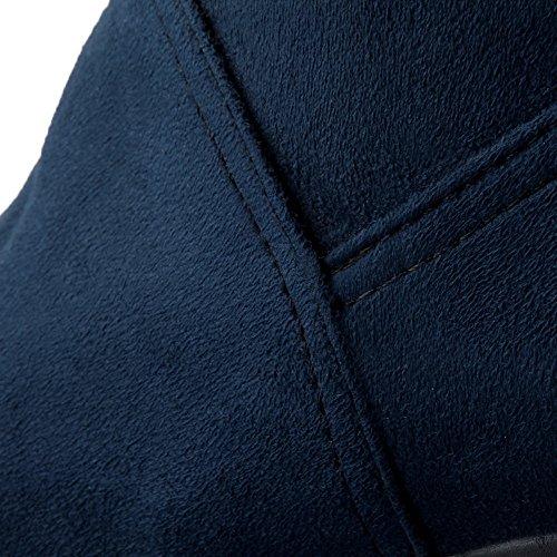 VogueZone009 Femme Tire à Talon Correct Dépolissement Couleur Unie Haut Élevé Bottes Bleu