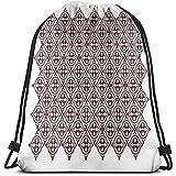 Limier Aurora Drawstring Backpacks Borse Zaini con Coulisse Stampate, Giada Etnica Giavanese Ornamenti di Stile Antico Piastrella Culturale, Chiusura con Cordino Regolabile