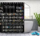 Periodensystem der Elemente,Berühmtheit Bild,schwarzer Hintergrund/150W x180H CM Schimmel resistent Polyester Stoff Badezimmer Dekor Bad Vorhang,Haken enthalten