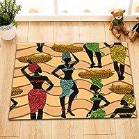 Femmes africaines travailleuses,motif ondulé, noir_Tapis de sol en flanelle Tapis de bain antidérapant Tapis de paillasson intérieur /extérieur Tapis de chambre à coucher pour enfant,40cm x 60cm