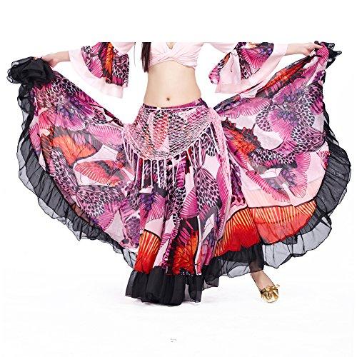 Dance Fairy Frauen Tribal Gypsy 25 Yards Baumwolle 720 Grad Bauchtanz lange Baumwollrock (Pink)