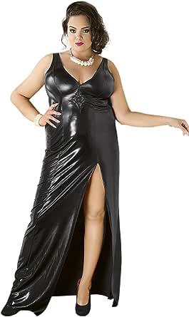 Andalea Schwarzes Wetlook Kleid elastisch XXL Dessous ...