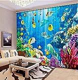 Shi18sport Dekoration Schlafzimmer 3D Gardinen Mode 3D Vorhänge Ozean Fisch Hohe Qualität, W400Cm H265M