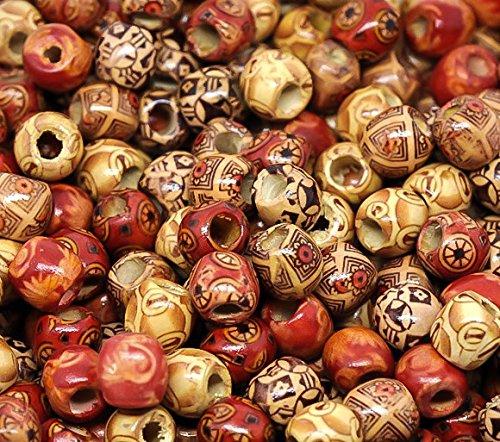 maDDma ® 100 Holzperlen \'Mix\' 12 x 11mm Perlen Holz Großloch-Perlen Fädelperlen